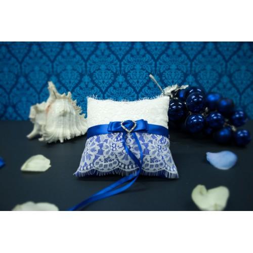 "Синяя подушечка для колец ""Фарфор"""