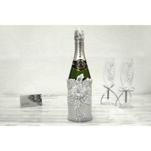 """Украшение для шампанского с кружевом """"Серебро"""""""